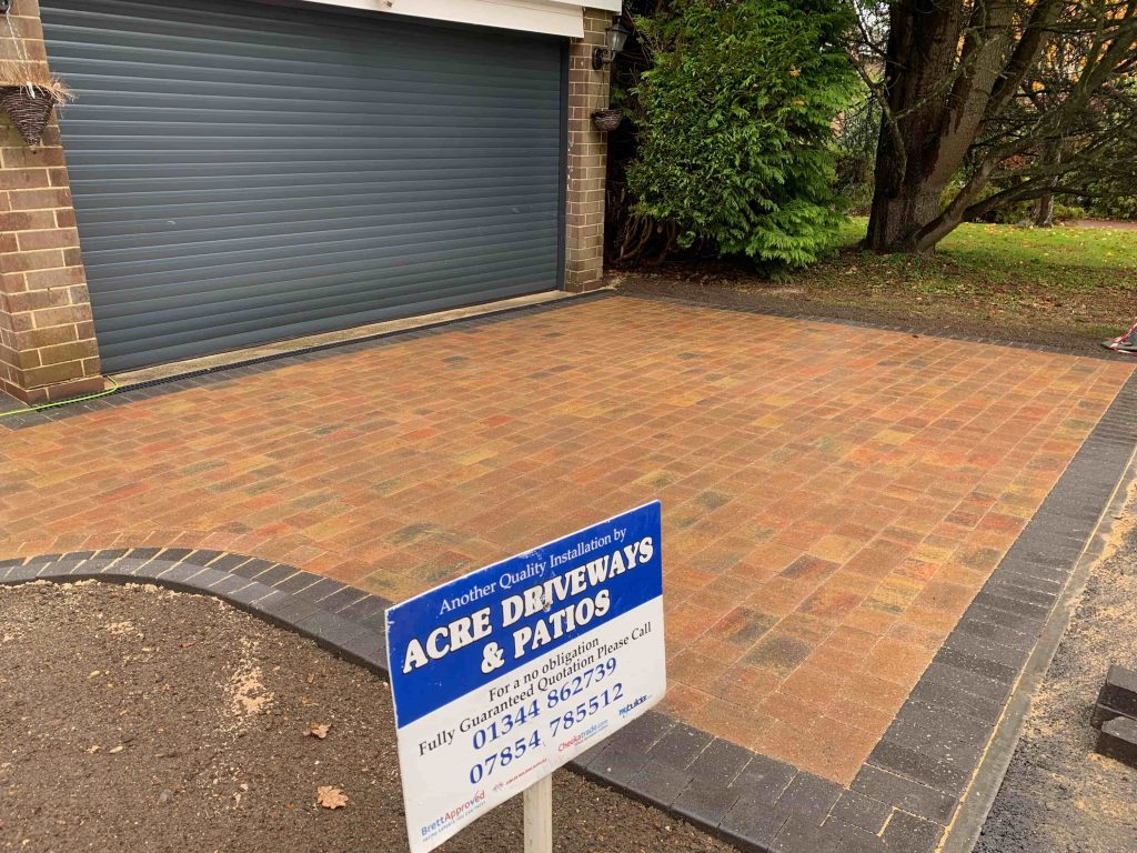 Block paving with Acre Driveways sign