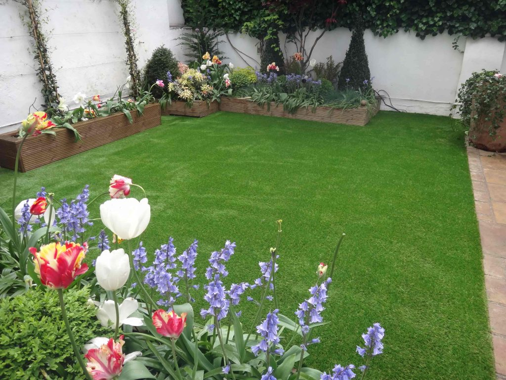 Artificial Grass with flower beds