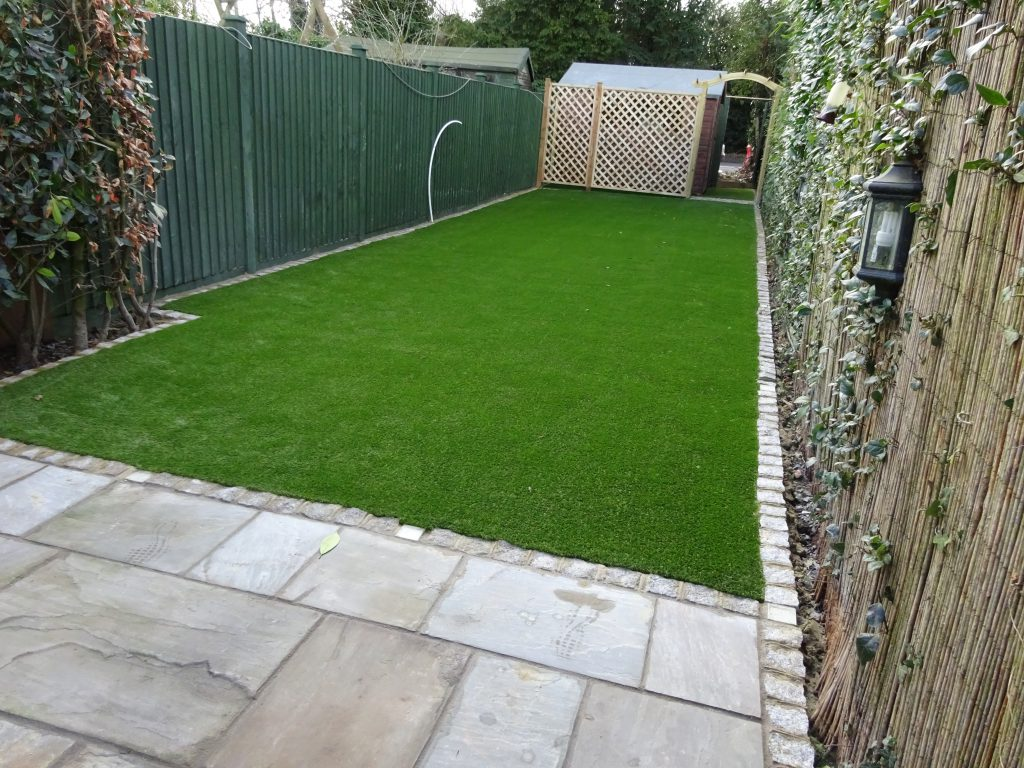Patio & Artificial Grass installed by Acre Driveways
