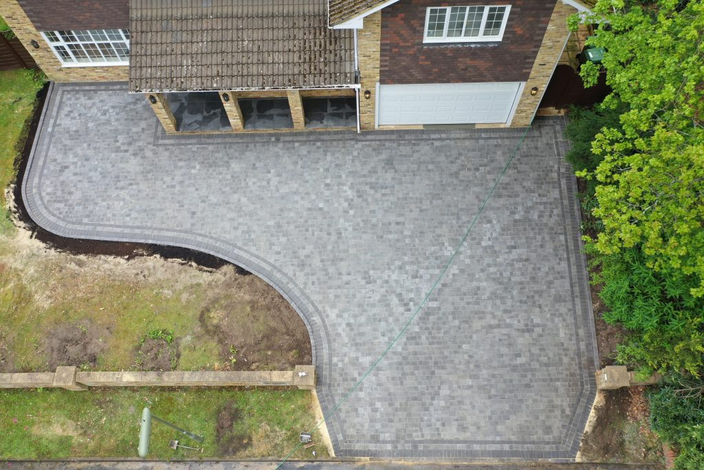Large driveway with block paving by Acre Driveways