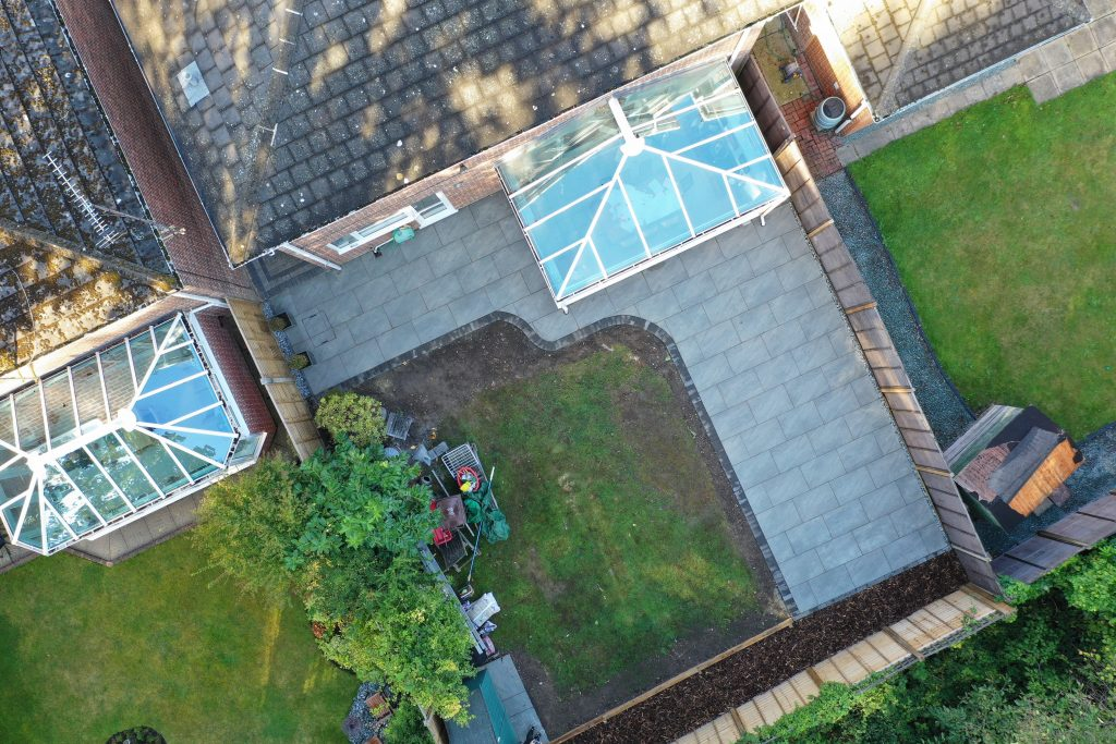 Aerial view of patio created by Acre Driveways