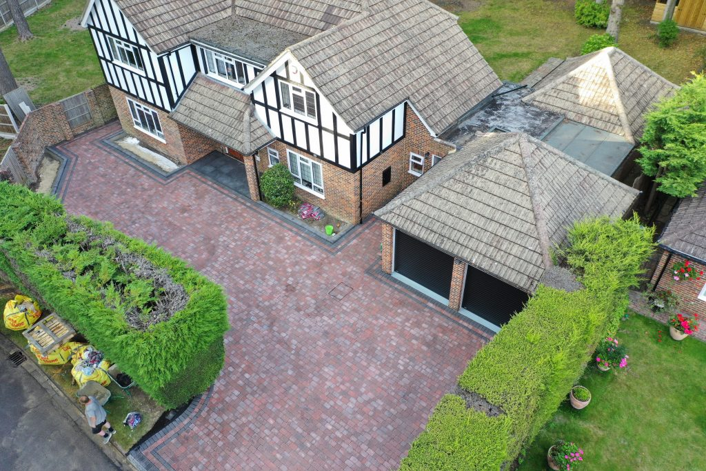Aerial view of classic red block paving by Acre Driveways