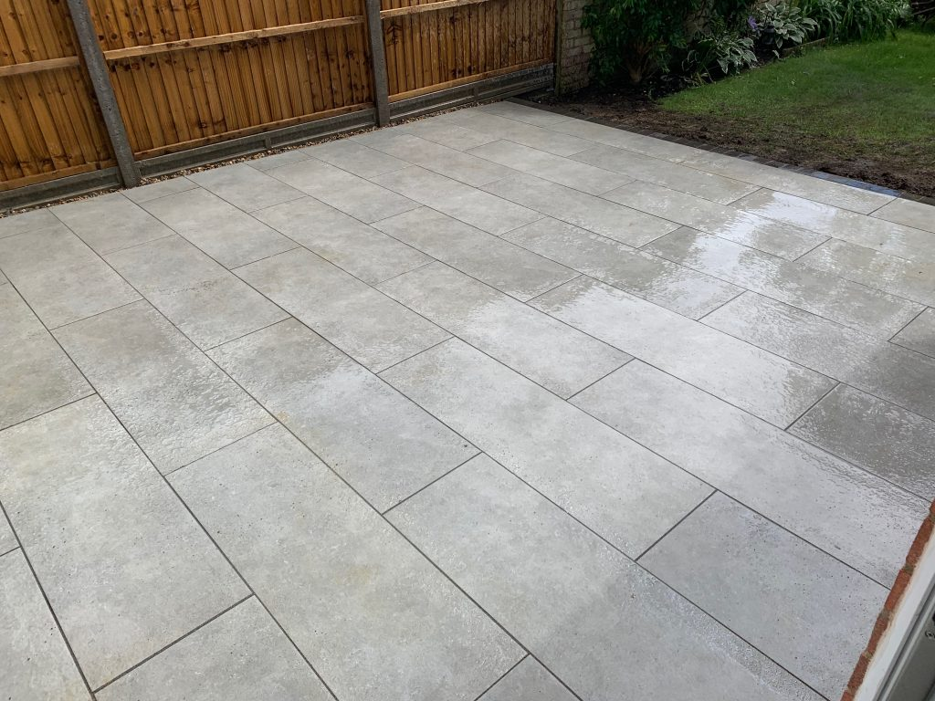 Grey patio laid by Acre Driveways