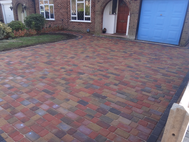 Multi colour block paved driveway