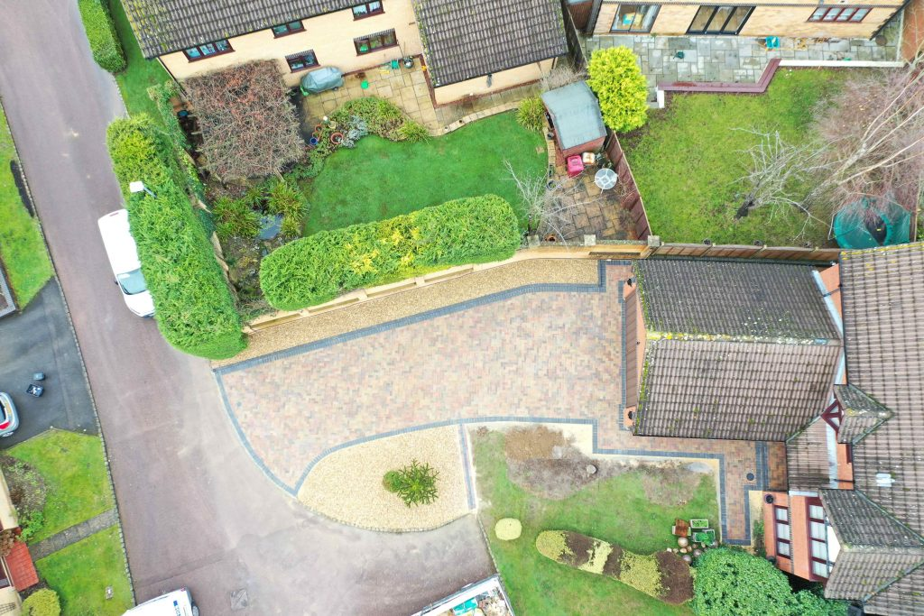 Aerial view of block paving