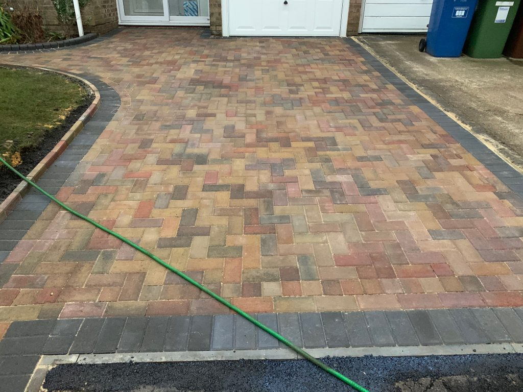 Multi coloured block paved driveway